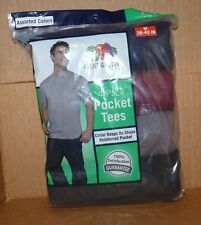 NEW FRUIT OF THE LOOM 4 Pack Pocket Tees Men M Medium Assorted Colors 38 40 NWT