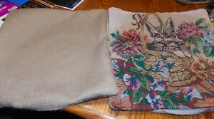 Pair of Beige Cat Print Decorative Throw Pillows  16 x 16