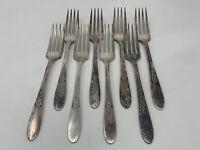 "Set Of 8 Dinner Forks 7 1/2"" Fantasy 1941 Oneida Tudor Plate vintage silverplate"