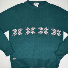 vtg Womens IZOD Lacoste Pink Star Flower Crew Neck Sweater Sz Medium 70s supreme