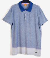 HUGO BOSS Orange Label Men's S Blue Polo Shirt Short Sleeved Cotton Linen Golf