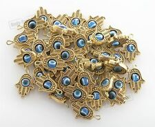 "DIY lot of 100 Gold HAMSA HAND ""Evil Eye"" Lucky Charm Pendant Kabbalah Jewelry"