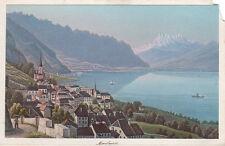 Rudolf Dikenmann: Montreux. Wunderschöne hand-kolorierte Ansicht um 1865