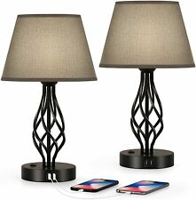 Set of 2 Table Lamps Vintage Nightstand Bedside Set with...