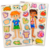 Wooden Human Body Parts Puzzles for Toddlers and Kids 2 3 4 Year Old 2 Pack