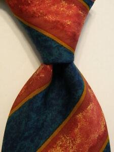 HUGO BOSS Men's 100% Silk Necktie ITALY Designer STRIPED Blue/Mauve/Gold EUC
