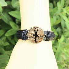 Ballet Dancer Black Bangle 20 mm Glass Cabochon Leather Charm Bracelet
