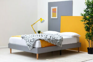 Modern Low Platform Grey Fabric Bed Frame Single Double or King Size    BSD