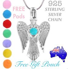 Angel Wing Essential Oil Diffuser Locket 925 Sterling Silver Chain Necklace Gift