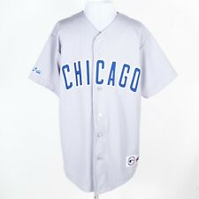VTG Majestic Chicago Cubs Baseball Jersey Sewn Letters Button-Up Gray L