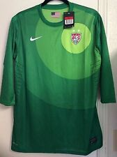 Nike USA Womens Soccer Goalie Goal keeper Jersey 3/4 Length 523749 Green XL or L