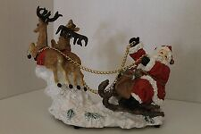 San Francisco Music Box Company Santa, Sleigh And Reindeer Musical Figurine