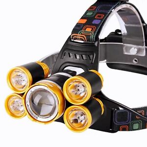 High Power 5 Headlamp Zoomable For Camping Fishing Hiking Night Working Light AU