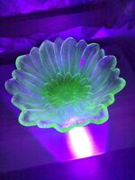 Vintage Green Uranium Glass Flower Shaped Candy Dish Scalloped Edges