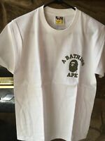 A Bathing Ape BAPE Small College Tee White Camo Size Small