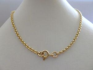 9ct Solid Gold Rolo Belcher Chain Necklace Yellow 2.2mm  N165-A CUSTOM