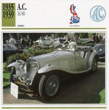 1935-1939 A.C. AC 16/80 Sports Classic Car Photo/Info Maxi Card