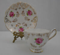 Queen Anne Three Rose Heavy Gold Lace  Bone China Tea Cup and Saucer