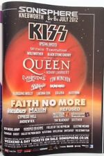 KISS / QUEEN Sonisphere 2012 magazine ADVERT/Poster/clipping 11x8 inches