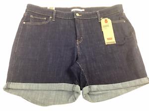 Levi's Women's Plus Size Classic Rolled Jean Shorts - Size 20W, Dark Wash, NWT