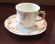 Antique LS&S Limoges  Pink Roses  Demi Tasse Cup & Saucer