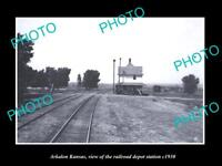 OLD LARGE HISTORIC PHOTO OF ARKALON KANSAS THE RAILROAD DEPOT STATION c1930