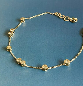 9ct Yellow Gold Solitaire Diamond Bracelet 0.50ct Bubble By The Yard