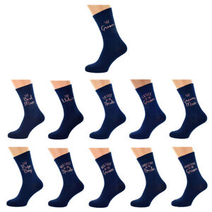 Navy Blue with ROSE GOLD Mens and Childs Wedding Socks  in Various Roles X6N885