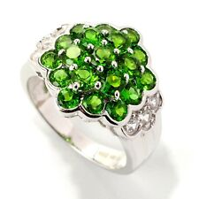 Sterling Silver 3.04ctw Chrome Diopside & White Zircon Cluster Ring, Size 7