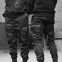 Men Harajuku Hip Hop Harem Pants Cargo Pants Street Fashion Black Joggers Black