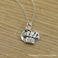 Silver Chef Hat Charm Necklace - Baker Baking Culinary School Pendant Jewelry