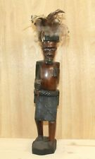 Vintage African warrior hand carving wood statuette