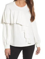 Women Blouse White Bishop Long Sleeve Front Ruffled Top Crew Neck M