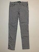 Tripp NYC Daang Goodman Rocker Black White Checker Board Skinny Stretch Jeans 29