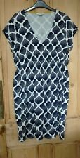 BODEN SIZE 18/18R GEOMETRIC PRINT CASUAL JERSEY DRESS Navy Blue/White - Holiday