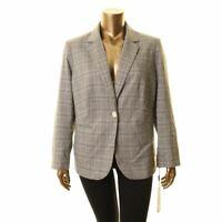 CALVIN KLEIN NEW Women's Plus Size Plaid One Button Blazer Jacket Top TEDO