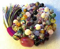 108 Mala Beads Necklace Psychic Ability Vision Dimentia tourmaline, onyx citrine