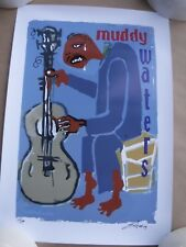 Easton Davy Hand Signed and Numbered MUDDY WATERS  Jazz Great Print 13 x 19