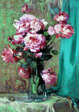Pink Rose Roses Painting Flowers Shabby Chic Provincial Canvas Print