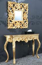 Espejo de pared + Consola acabado antiguo Lujoso palaciego Barroco ROCOCO ORO 85