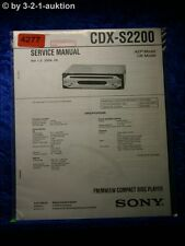 Sony Service Manual CDX S2200 CD Player (#4277)