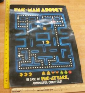 1982 Pac-Man Midway poster Addict admister quarters VINTAGE thicker cardstock