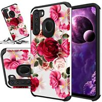 For Samsung Galaxy A21 A11 A01 Phone Case Rubber Hard Cover +Tempered Glass