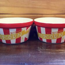 Set of 2 Ceramic POPCORN Large Bowl BUCKET Red~White Stripe Tabletops Lifestyles
