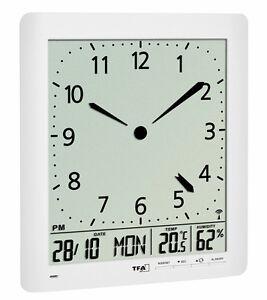 TFA 60.4515 Funkwanduhr analog digital LCD Raumklima Zeitzone Snooze Kalender