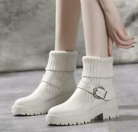 Details about  /Womens Mid Calf Knight Riding Boots Ladies Stud RivetsVintage Chunky Heel Shoes