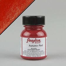 Angelus Acrylic Leather Paint AUTUMN RED 1oz (29ml) Bottle Water Resistant