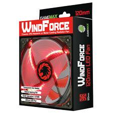 Jeu Max Windforce 4 x led rouge pc 12CM ventilateur de refroidissement 3-pin & 4-Pin molex 120mm