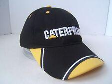 Caterpillar Hat CAT Heavy Equipment Canada Black Yellow Baseball Hat Hook Loop