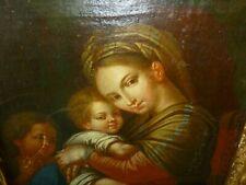 Huile sur toile XIX Madone a l'enfant Jésus d'après Raphaël peinture Italienne
